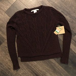 Burgundy cable knit sweater Rachel Roy Large NWT